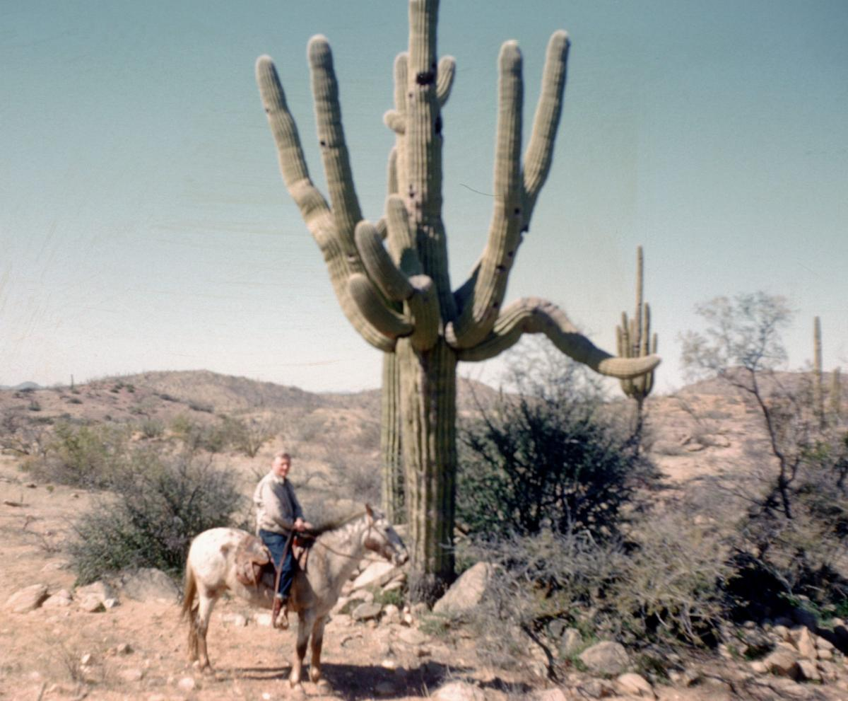 Douglas by giant cactus